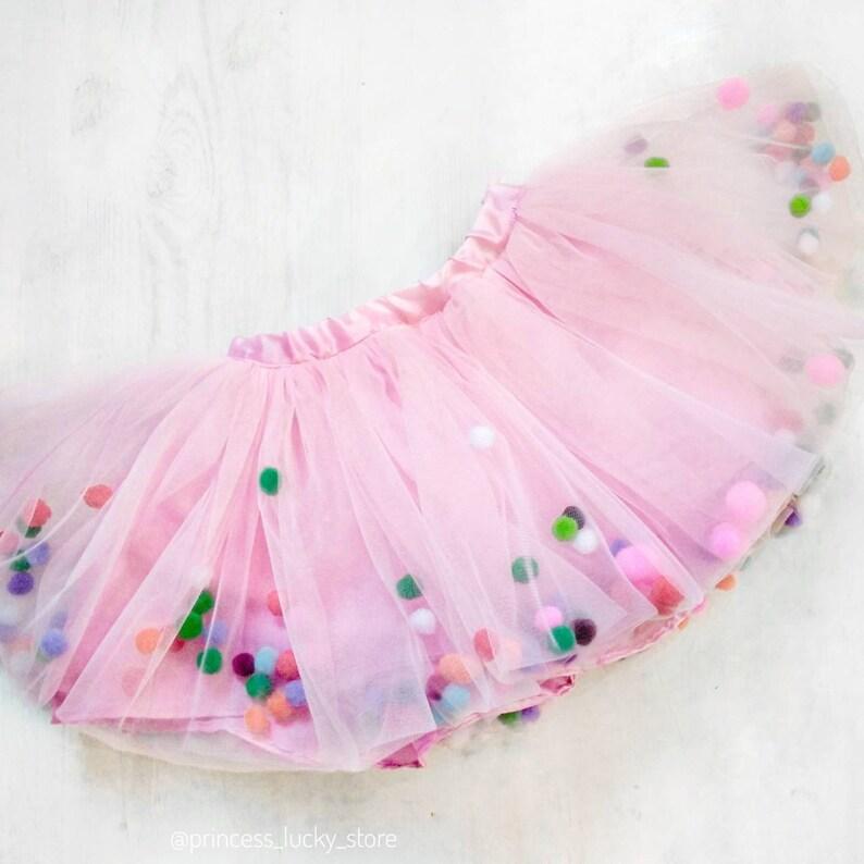 99f9198298 Pink Skirt tutu with pompoms Pom Pom Tutu Birthday Party | Etsy