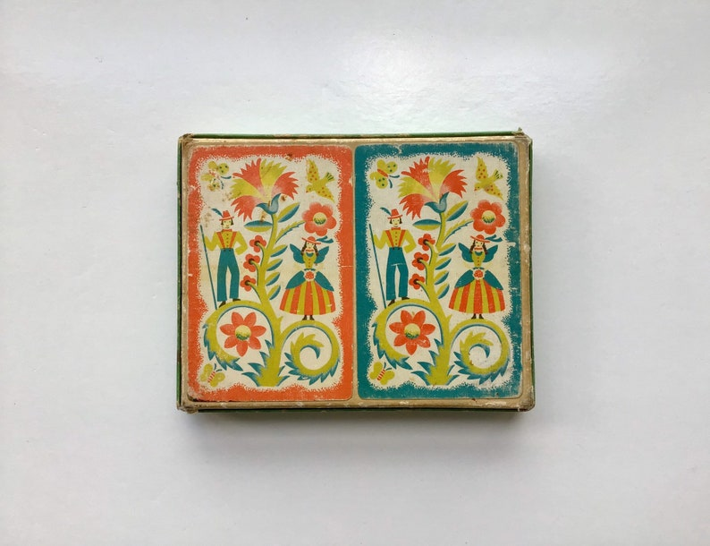 - Box with 2 Decks Vintage Colortone Folk Art Backs Western Playing Card Co Maker of Guild Playing Cards
