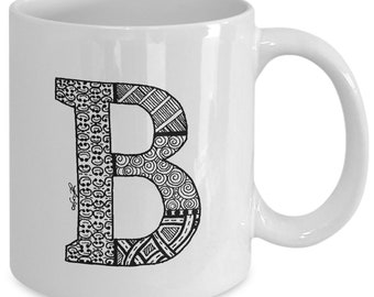 "NEW 11 oz Hand Drawn Zendoodle Monogram Mug ""B"" - Unique Design - Monogram Coffee Mug"