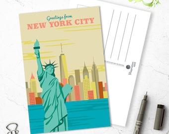 New york City Postcard - City postcards - New York postcard set - New York souvenir - Landmarks - Vintage inspired postcard -Travel postcard