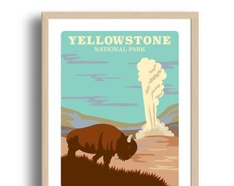 Yellowstone Art Print - Home Decor - Yellowstone national park - Wall Art - Museum Art Print -Giclée Art- National Park art print -Wholesale