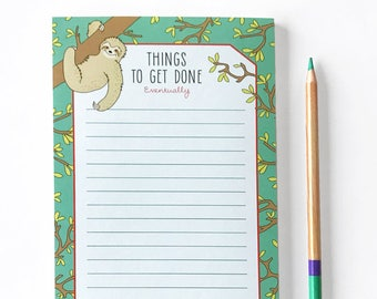 Sloth Notepad - Notes - To Do list pad - Office notepad - Cute notepad - Blank notepad - Sloth stationery - Daily Planner - Funny Notepad