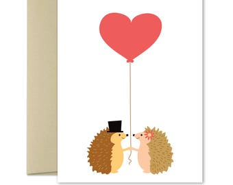 Love Card - Friendship Card - For him - For her - Wedding cards - Cute greeting cards - Anniversary card - Valentines Card - Hedgehogs