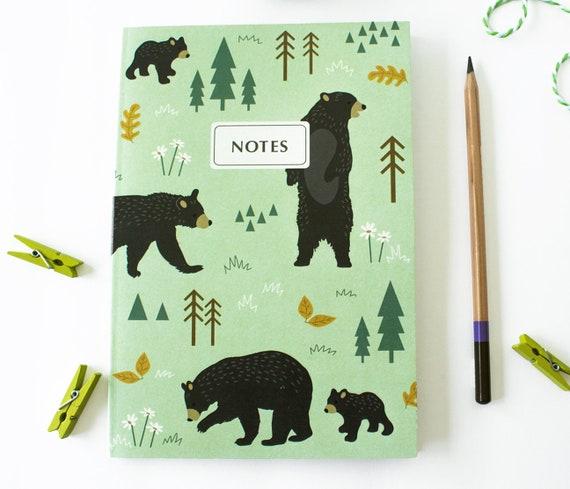 Ours carnet cahier Journal - cahier d'ours noir - doublée - journal Camping - ensemble de papeterie cadeau - Journal de l'écriture - cahiers