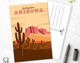 Arizona state postcard - USA postcards - State postcard set - Arizona souvenir - Landmarks - Vintage inspired postcard - Travel postcard