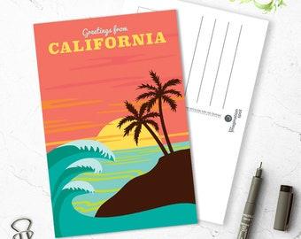 California state postcard - USA postcards - State postcard set - California souvenir - Landmarks -Vintage inspired postcard -Travel postcard