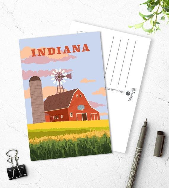 Indiana state Postcard - City postcards - Indiana postcard set - Indiana  souvenir - Vintage inspired postcard - Travel postcard