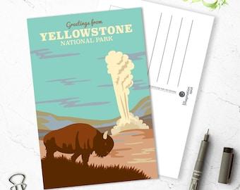Yellowstone Postcard - National Park - Yellowtone postcard set -Yellowstone souvenir -Landmarks -Vintage inspired postcard -Travel postcard