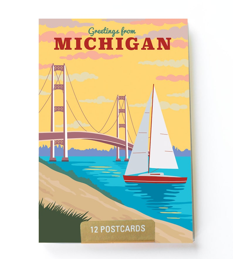 Michigan state Postcard - City postcards - Michigan postcard set - Michigan  souvenir - Vintage inspired postcard - Travel postcard