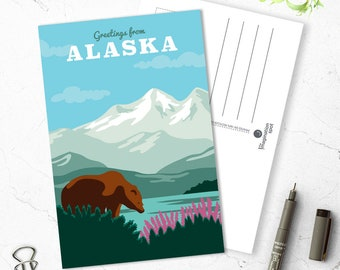 Alaska state postcard - USA postcards - State postcard set - Alaska souvenir - Landmarks - Vintage inspired postcard - Travel postcard