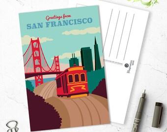 San Francisco Postcard - City postcards - San Francisco postcard set - San Francisco souvenir - Vintage inspired postcard - Travel postcard