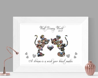 Kissing Mickey Mouse & Minnie Mouse Digital Photo Collage Wall Art Printable