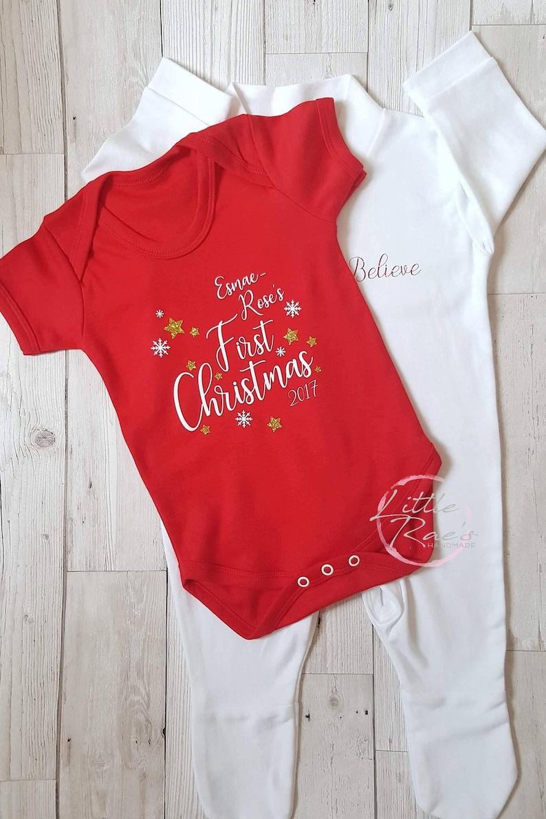 2deb3019bb1d4 Christmas Baby set Personalised Christmas Baby | Etsy