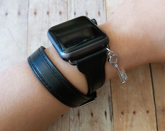 be006a9f6eb51 Black Glossed Leather Apple Watch Band Unisex Braided Double | Etsy