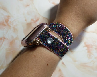 Gold Stretch Apple Watch Band Sparkling Glitter iWatch