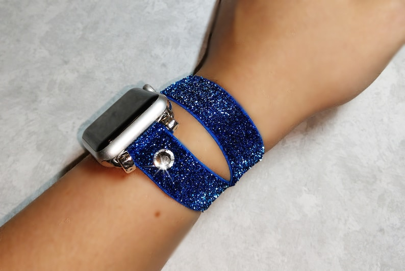 Sparkling Stretch Apple Watch Band Navy Blue Glitter iWatch Double Wrap  Strap 38 40 42 44mm made w Swarovski Crystal Band for iWatch 1 2 3 4
