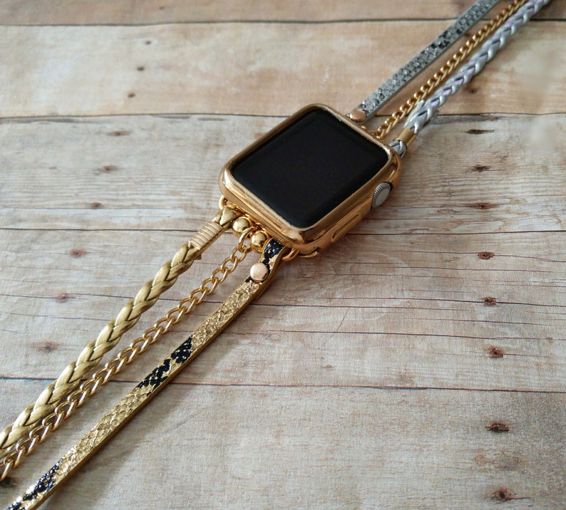 f4cf294bf388f Silver Gold Boho Luxe Apple Watch Band Luxury Leather Braided Wrap Strap  for iWatch 1234 Nike Hermes Gold Chain Bracelet 38 40 42 44mm