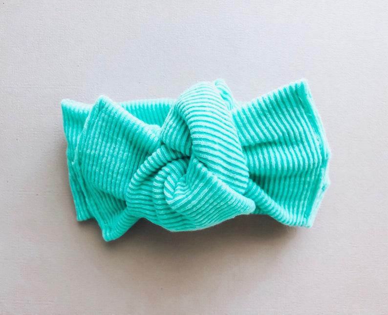 toddler headbands modern bows baby headwrap Jas Mint green ribbed headband Baby headband READY To SHIP baby bows Baby Girl