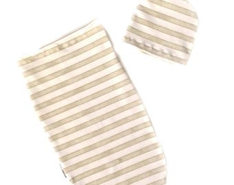 Baby Swaddle, Baby Swaddle Set, Newborn Swaddle, Baby Sleep Sack, Baby Beanie, Taupe Stripes Baby Cocoon, Newborn Gift, Baby Boy, baby Girl