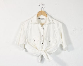 1cd7e15f978 White Cotton Shirt, Vintage 90s Minimal Blouse, Simple Short Sleeve Button  Down Tie Up Top, Loose Oversized Basic Casual Pocket Front Shirt