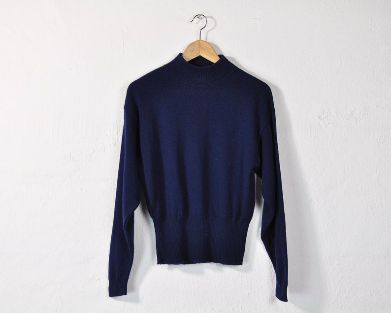 Vintage 90s Light Wool Sweater Minimal Basic Casual Warm Comfy Slouchy Fall Knit Pullover Wool Mock Turtleneck Simple Navy Mockneck Top