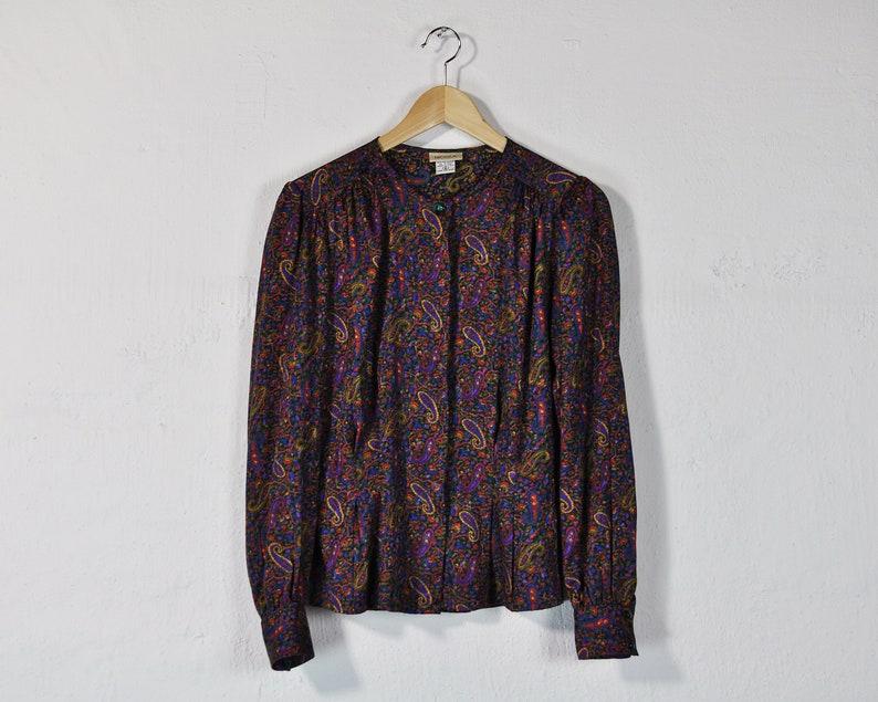 7b5d5cb8db9 Paisley Print Blouse Vintage 80s   90s Shirt Puff Sleeve