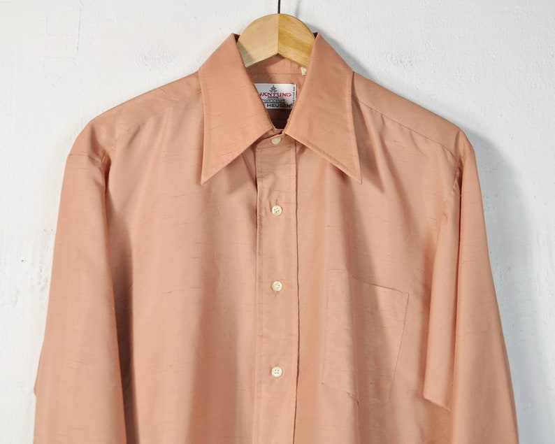 Vintage 60s Long Sleeve Button Down Collared Shirt Unisex ENBY Simple Classic Large Oversized Pocket Front Dress Shirt 70s Men/'s Oxford