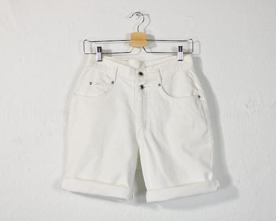 4801a86ead White Denim Shorts Vintage 90s Jean Shorts High Rise Long | Etsy