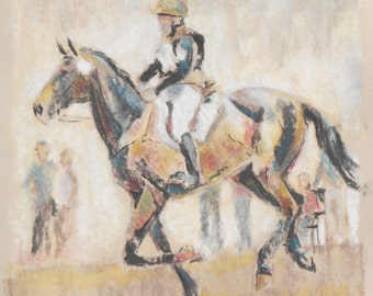 """Original Horse Art/Charcoal/Pastel Drawing/Artwork 14""""x18""""/Unframed/""""Cross-Country --Gallop Track"""" by Shay Roberts"""