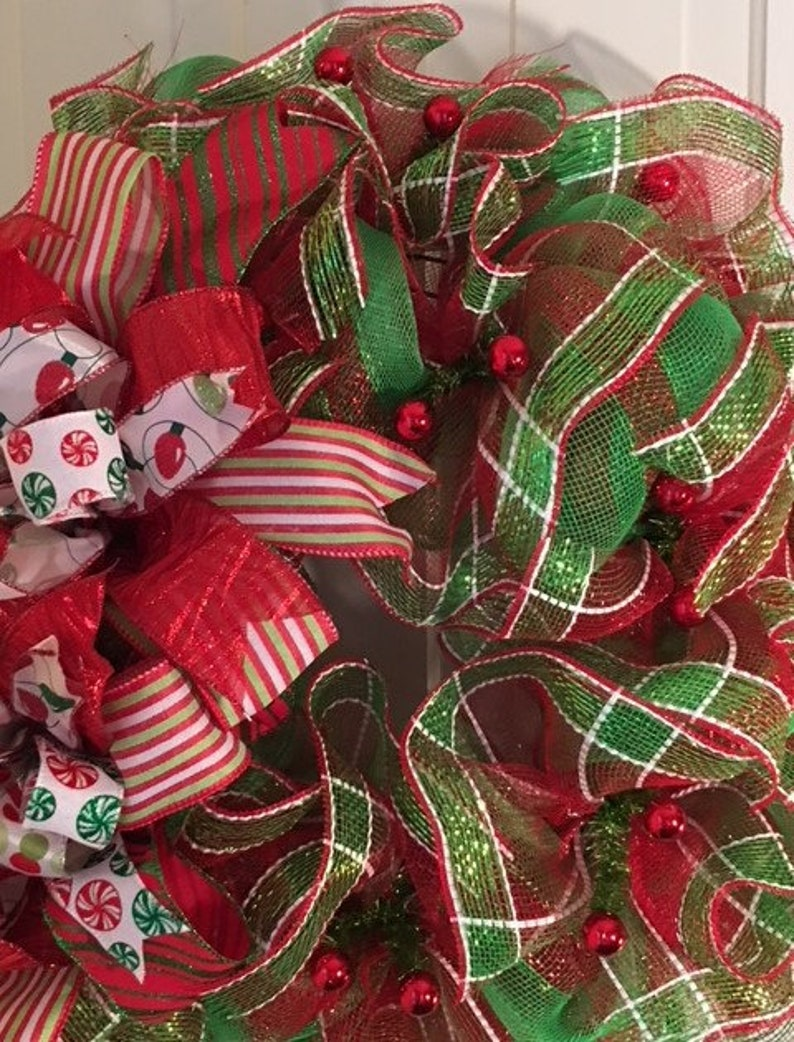 Holiday Front Door Wreath Large Wreath for Front Door Red Shiny Ball Christmas Wreath Merry Christmas Wreath Deco Mesh Christmas Wreath