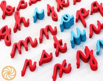 Cursive Moveable Alphabet - Montessori Alphabet - lowercase felt letter - with tails