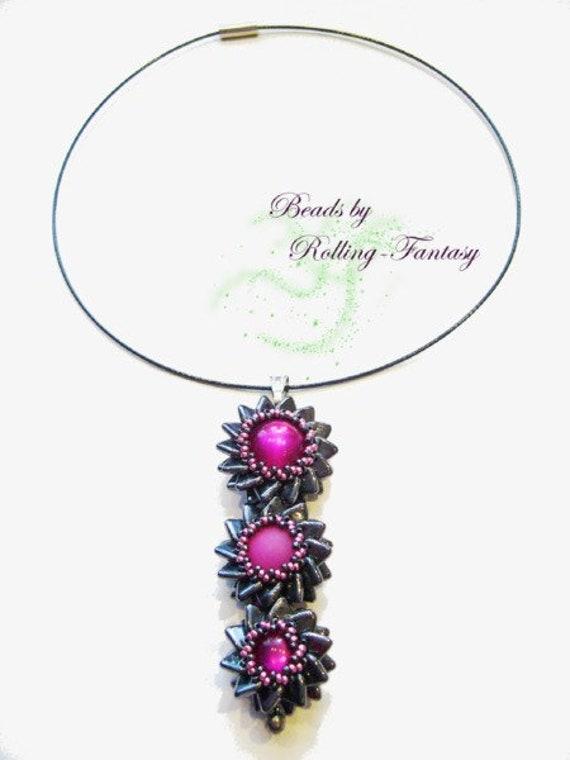 flower necklace made of pearls in fuchsia and black - Besichtigungstermin Vereinbaren Muster