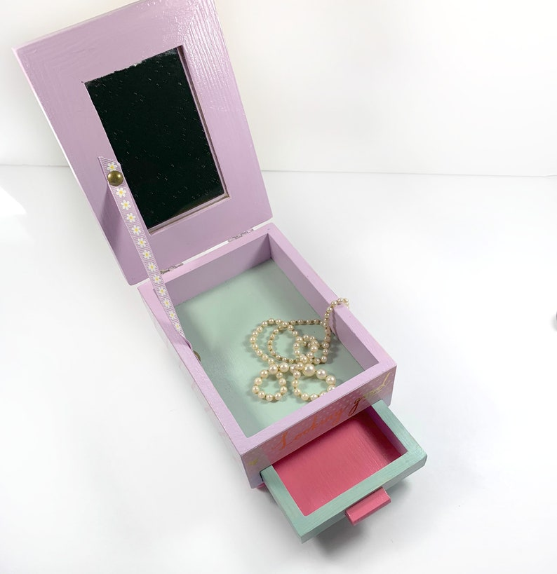 Wooden Petite Jewelry Box with Mirror and One Drawer