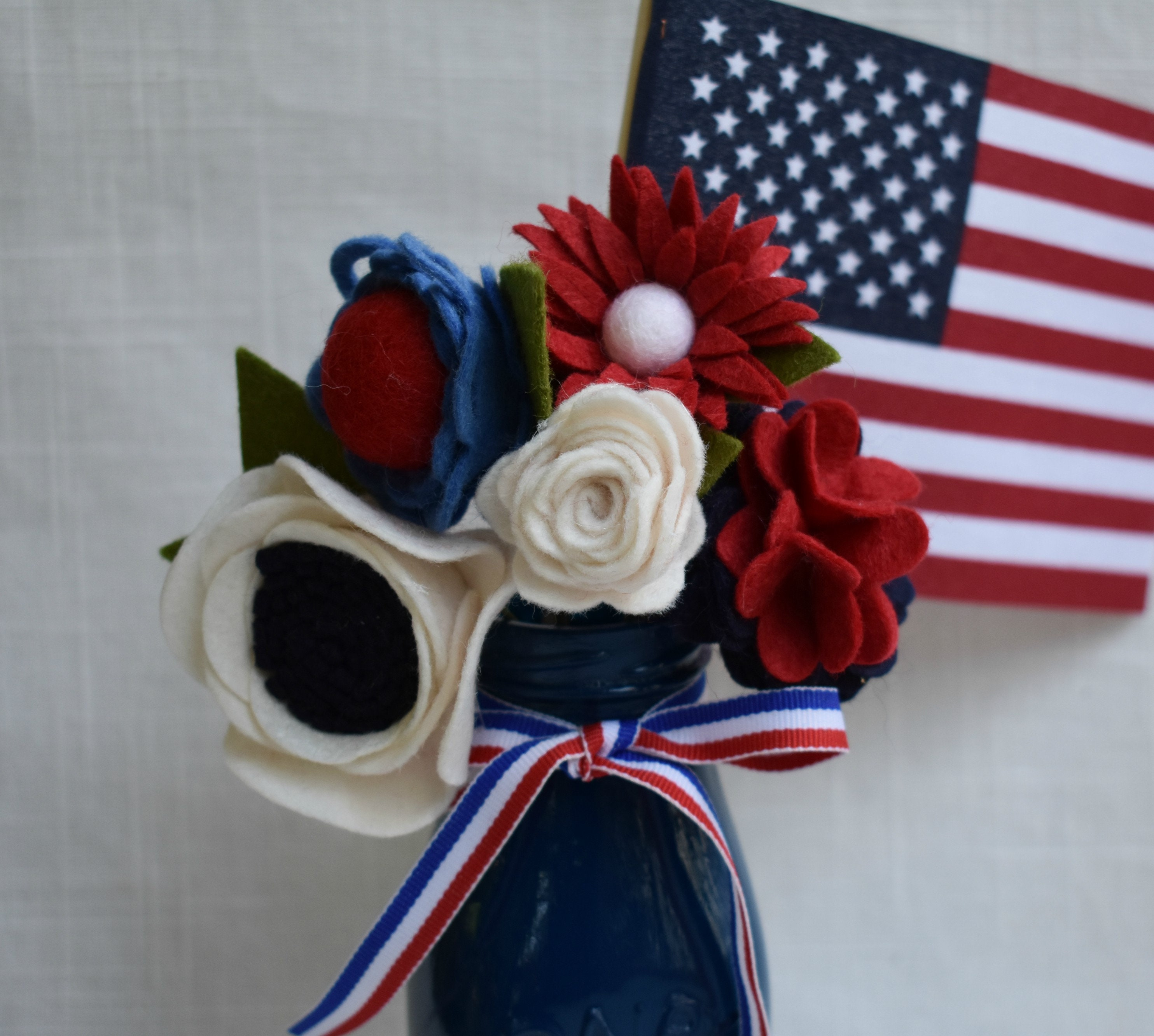 Patriotic Centerpiece Red White And Blue Flowers In Navy Etsy