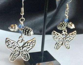 Butterfly Charm Earrings Tibetan Silver With Pinecone And Acorn