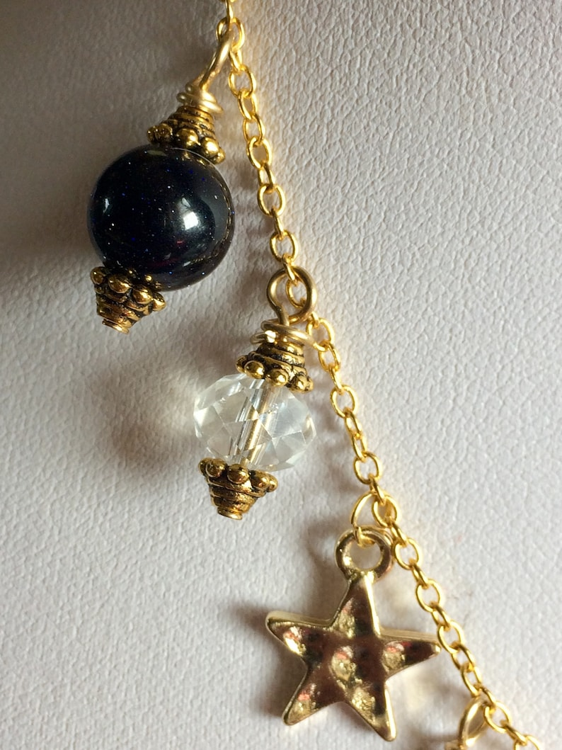 Moon Star Necklace With Real Austria Crystal and dark Blue Sandstone