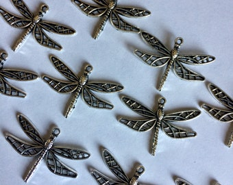 Tibetan Silver Dragonfly Charm, Findings for Jewelry Making