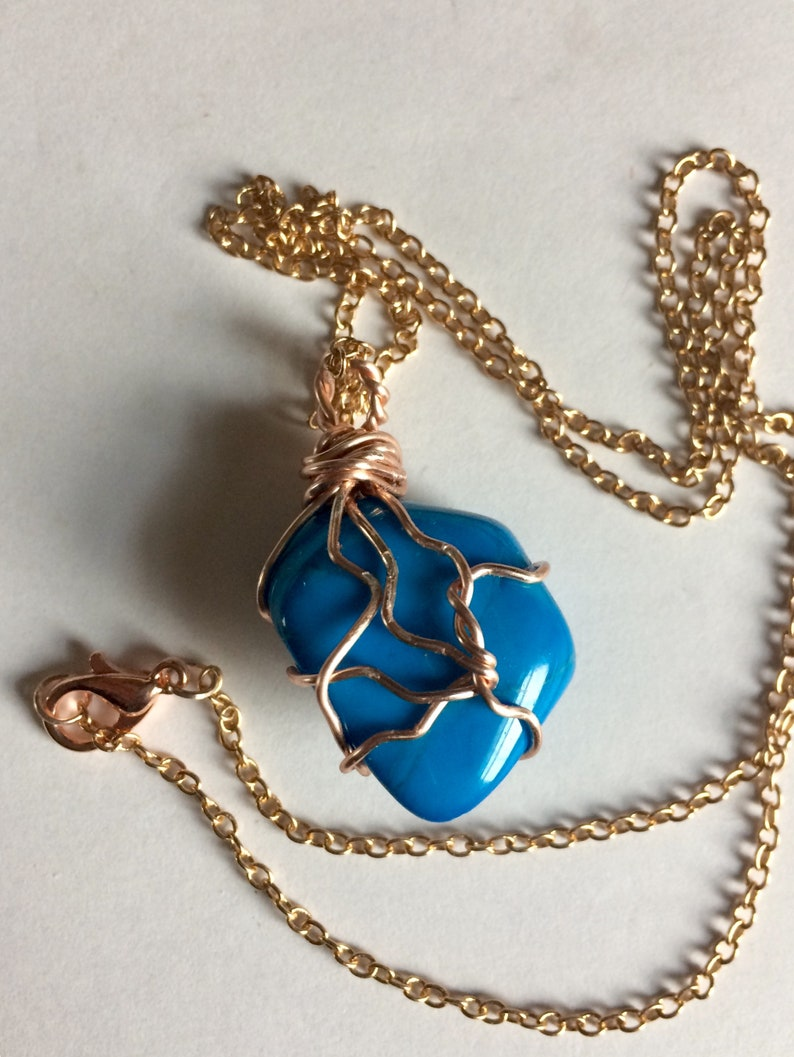 Howlite Turquoise Wire Wrapped Stone beautiful Blue Color