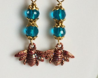 Pink Enamel coated Bee Charm with Teal Crystal Beads