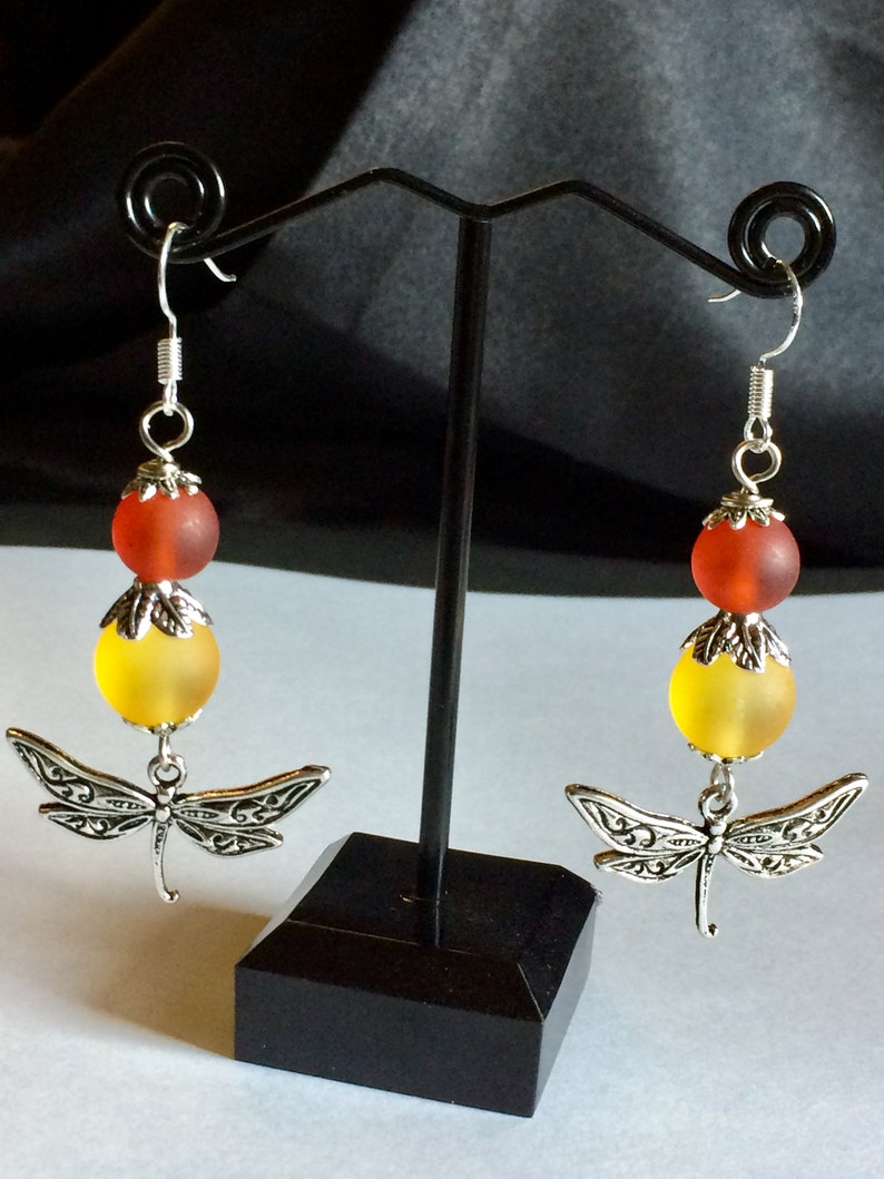 Dragonfly Charm Earrings with Frosted Glass Beads