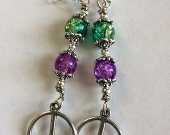 Hippie Peace Symbol Dangle Earrings With multicolored Beads