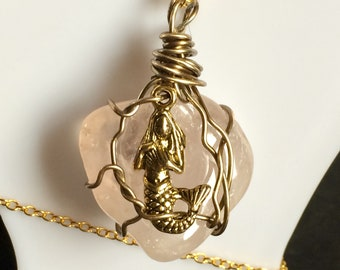 Rose Quartz Antiqued Gold Stone Wire Wrap With Mermaid Charm
