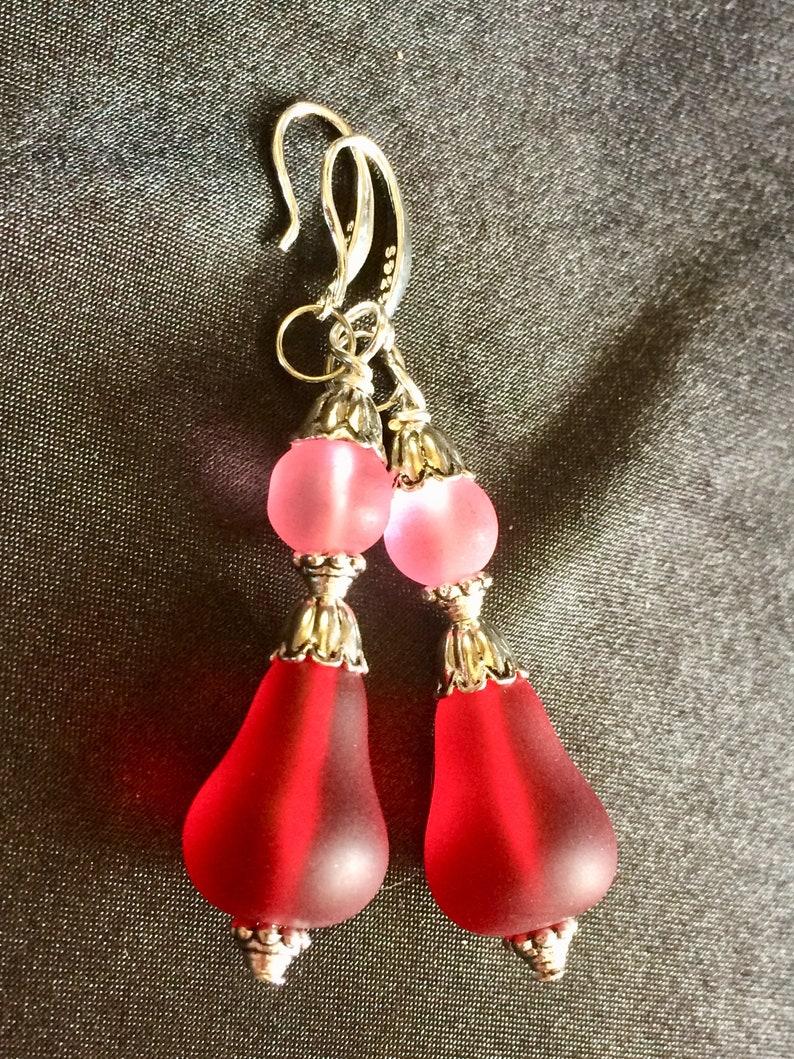 Frosted Glass Sea Glass Style Pear Flower Dangle Earrings