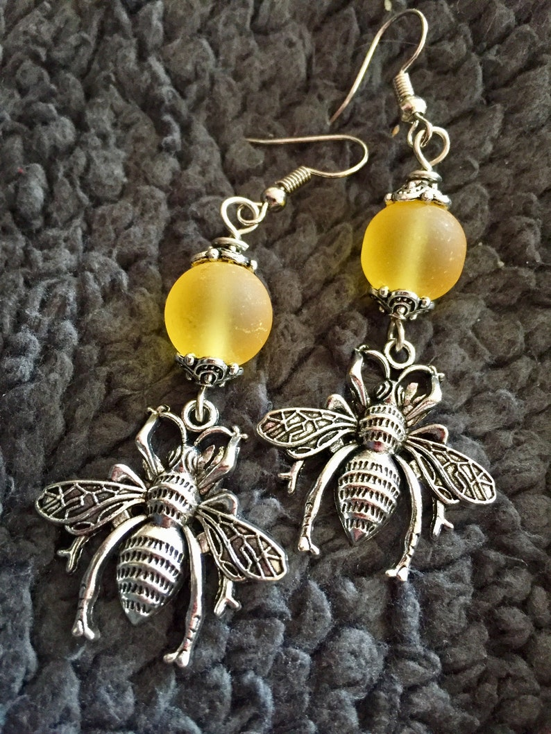 Bee Charm Earrings with Frosted Glass Bead