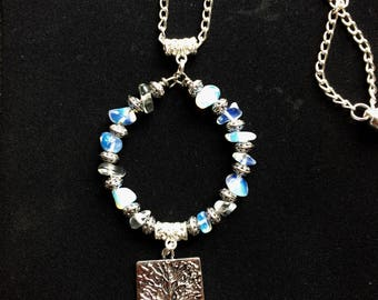 Tree Of Life Pendant ,Necklace with Opalite and Antique Silver Charm