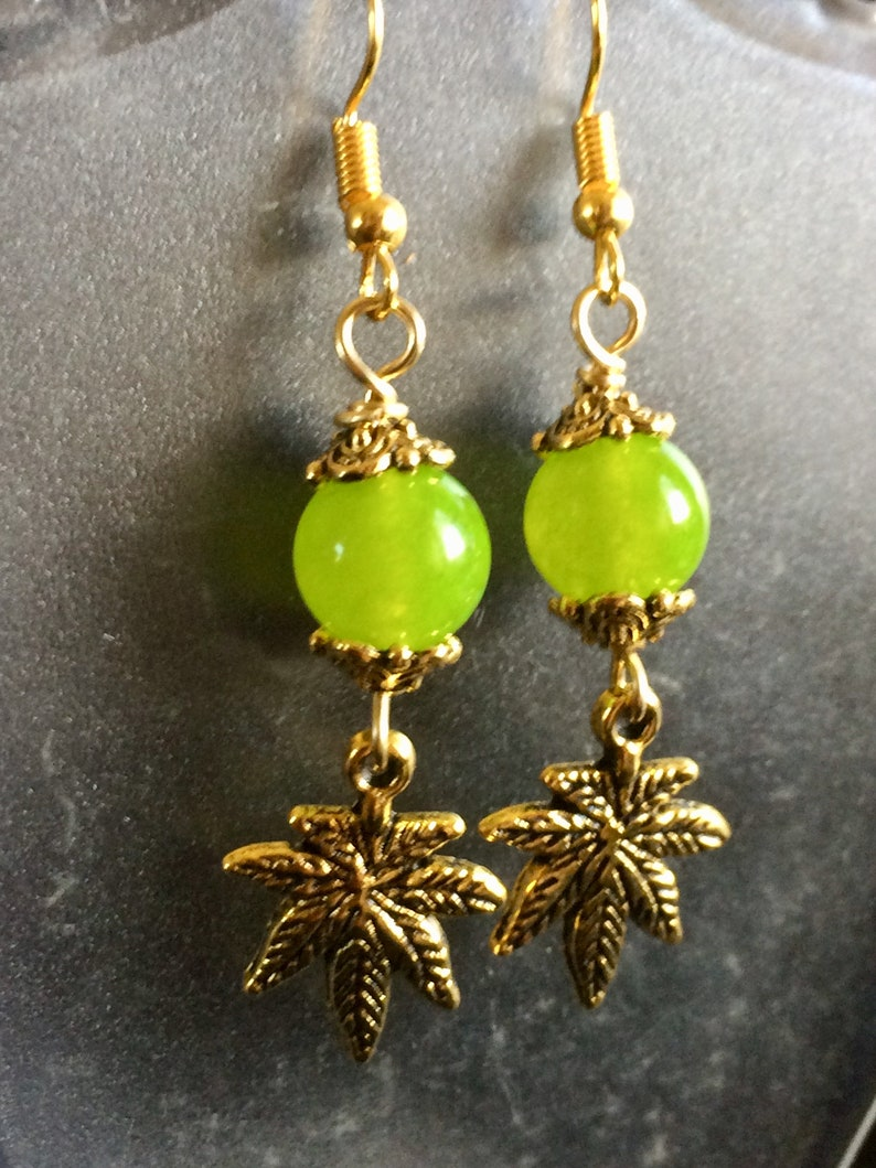 Marijuana Leaf Earrings with Green Peridot Bead