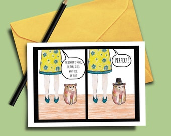 Funny Thanksgiving Pun Card, Printable Cards, Digital Download, Thanksgiving Dinner Card, Party Card, Cat Card, Card for Family, Funny Card