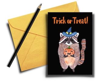 Funny Halloween Card, Trick or Treat Card, Raccoon Card, Printable Card, Digital Download, Pumpkin Card, Cute Animal Halloween Card for Kids