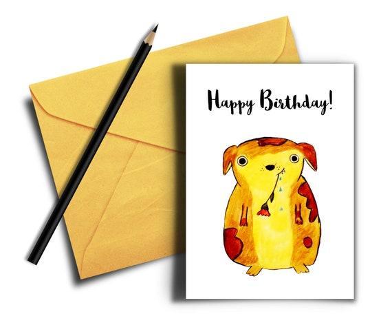 Dog Birthday Card For Her Cute Printable Card Digital Etsy