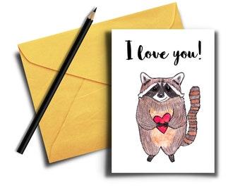 Cute Printable I Love You, Raccoon Card holding a Heart, Funny Love Card for Anniversary, Raccoon Digital Card